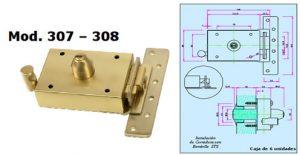 cerradura modelo 307-308 inceca